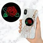 Neon Light Rose Floral Aesthetic Retractable Phone Grip Ring Holder Stand