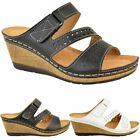 Womens Ladies Low Heel Wedge Comfort Wide Casual Sandals Slip On Mules Size New