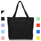 "DALIX 20"" Solid Color Cotton Canvas Shopping Tote Bag (Exclusive Edition) image"