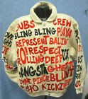 RAPPER URBAN LYRICS WORDS SLANG BLING PIMP PROSTITUTE DUBS CREW WOOL JACKET NWT