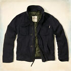 NEW Hollister by A&F Men's Hammerland Blue Lined Military Jacket Coat - S, M, L
