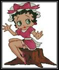 Betty Boop on Log - Cross Stitch Chart/Pattern/Design/XStitch $11.0 AUD on eBay