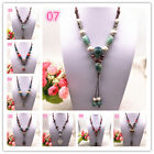 NEW Fashion Ceramics Beads Pendant Ethnic Long Necklace Chain Jewelry Style  image