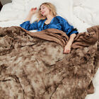 Faux Fur Bed Blanket Soft Cozy Warm Fluffy Variation Print Minky Fleece Throw  image
