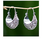 Tibetan Carving Woman 925 Silver Pendant Hoop Birthday Jewelry Gift Earrings image