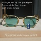 Vintage Johnny Depp sunglasses men's yellow frame light green lens gift unisex