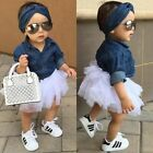 1 Set Baby Girl Summer Clothes Denim Shirt Top and Tutu Skirt Mini Casual Suit $13.29 USD on eBay