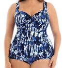 Catalina  Women's Plus-Size Slimming Tie-Dye Shirred One-Piece Swimsuit