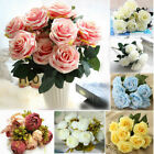 10 Heads Silk Rose Artificial Flowers in vase Bouquet Bunch Wedding Home Decor