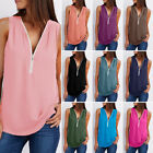 New Women Summer Loose Sleeveless V-neck Tank Top Vest T-Shirt Size S-5XL Casual