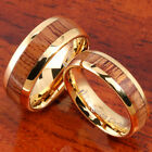 A Pair of Yellow Gold Tungsten Koa Wood Rings TUR4037 TUR4038 image