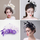 Women Fascinator Bridal Feather Mini Top Hat Hair Clip Bride Wedding Party Decor