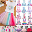 Girls Kids Summer Tulle Tutu Skirt Dress Princess Party Pageant Pleated Dresses