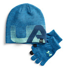 NEW Under Armour Boys 4-20 Beanie/Gloves Set One Sz MSRP $29.99 Blue, Red/Black