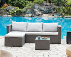 5 pcs Garden Set Dark Brown Grey Black Rattan Optional Cover Outdoor Furniture