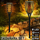 LED solar torch outdoor lamps fire effect garden lighting plug yard lights new