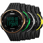 SKMEI Cool Waterproof Mens Watches LED Date Countdown Silicone Wrist Black Watch image