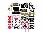 Photo Booth Props Frame Wedding Hen party Birthday Baby Shower Selfie Decor kit