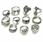 Women's Fashion Jewelry Silver Gold 11pc Knuckle Ring Set Bohemian 79-3