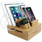 Bamboo 5-slot Removable Tablet Phone Stand Holder Desktop Cord Organizer Stand