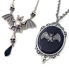 Bat & Skull Pendant Necklace Victorian Frame Gothic Punk Steampunk Silver