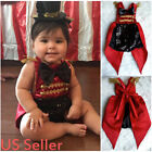 US Newborn Baby Girls Boy 1st Birthday Outfit Clothes Romper Pants Costume Set