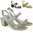 Womens Low Heel Sandals Rhinestone Buckle Straps Ladies Evening Party Shoes Size