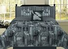 Rustic Mountain Lodge Quilt Bedding Set Cabin Woods Moose Bear, Black and Grey