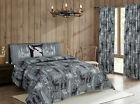 Rustic Mountain Lodge Quilt Bedding Set Cabin Woods Moose Bear, Black and Grey image