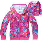 Kids Girls Cartoon Lovely Trolls Zipper Hooded Hoodies Sweatshirt Sweat Jacket image