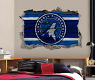 Minnesota Timberwolves Wall Art Decal 3D Smashed Basketball NBA Wall Decor WL194 on eBay