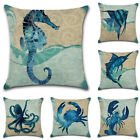Retro Ocean Animal Sea Sofa Decor Cotton Linen Pillow Cases Throw Cushion Cover