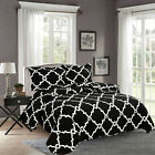 3 Piece Reversible Embroidery Quilt Bedspread Set Black Modern Print Queen King  image