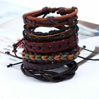 Mens Womens Stretch Multi Row Leather Bracelets Surfer Bead Wristband Xmas Gifts