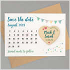 PERSONALISED Wooden Save The Date Calendar Magnets Cards Vintage Bunting Boho