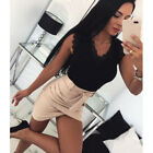 Womens Lace V Neck Blouse Shirt Ladies Summer Casual Skinny Party Vest Tops Tee