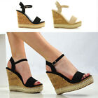 Womens Wedge Platform Heel Espadrilles Sandals Ladies Stud Strappy Shoes 3-8