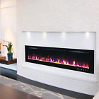 50 - 60 INCH LED WHITE BLACK GLASS WALL MOUNTED ELECTRIC FIRE NEXT DAY DELIVERY
