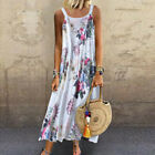 Women Retro Sleeveless O Neck Plus Size Bohemian Linen Floral Print Maxi Dress