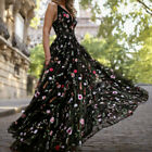 Women Sexy V-Neck Print Lace Back Hollow Long Cocktail Party Elegant Dress CA