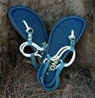 NEW Kino Cordones Sandals Navy 100% Genuine Handmade Leather Key West, Florida