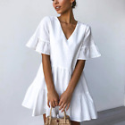 Womens Summer Casual Pleated Mini Dress Ladies V Neck Solid A Line Loose Dresses