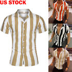 USA Fashion Men Luxury Shirts Casual Stylish Slim Fit Short Sleeve Dress T Shirt image