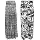 New Women's Plus Size Aztec Print Flared Wide Leg Palazzo Trousers Pants 8-26