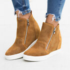 UK Womens Ladies Hidden Wedge Heels Trainers Sneakers Casual Zipper Loafer Shoes