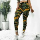 Womens Camo Cargo Trousers Straight Pants Military Army Combat Camouflage Print