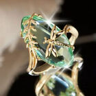 Fine Women Gold Plated Dragonfly Peridot Ring Wedding Jewelry Gift Size 6-10 image