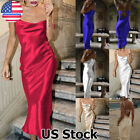 Women Satin Silk Strappy Midi Dress Evening Cocktail Party Prom Formal Ball Gown $13.91 USD on eBay