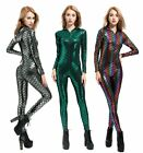 Sexy Fish Dragon Scales Women Faux Leather Jumpsuit Holographic Metallic Catsuit