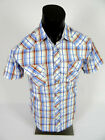 Mens Western Heritage Short Sleeve Light Blue Plaid Shirt Snap Front Pockets 06